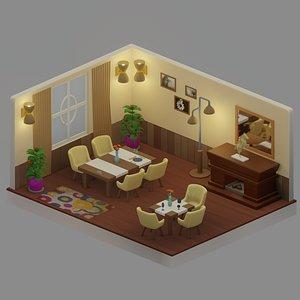 3D isometric dining room model