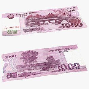 3D North Korea 1000 Won Banknote