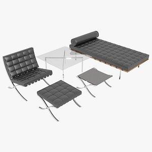 Knoll Black Leather Barcelona Complete Set 3D model