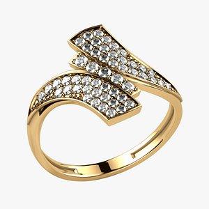 3D Pave Set Gems Fashion Gold Ring