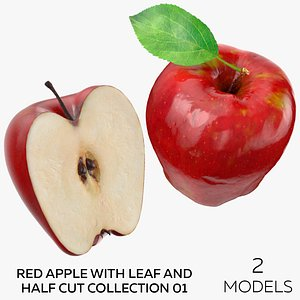 3D Red Apple With Leaf and Half Cut Collection 01 - 2 models model