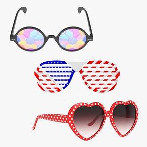 3D party sunglasses glasses sun model