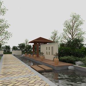 garden backyard 3D model