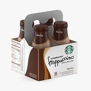 3D Starbucks Frappuccino Coffee Beverage 9.5 oz Bottles 4 Pack model
