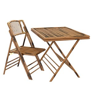 3D Bamboo folding chair and table exterior cafe