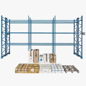 Cardboard boxes Metalshelve Woodenpallet 3D model