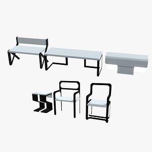 minimalistic sci-fi tables model