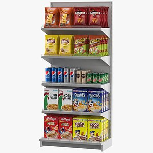 supermarket shelves grocery 3D model