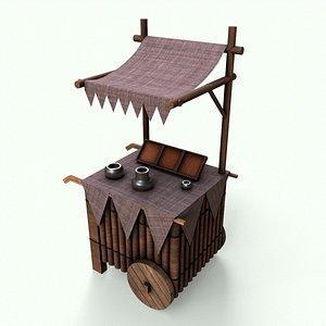 3D Medieval Market Stall model