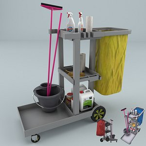 janitorial cart cleaning 3D