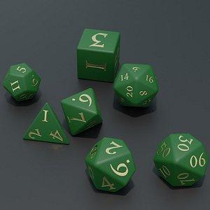 RPG dice asset Green 3D