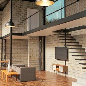 industrial loft living 3D model