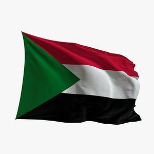 Realistic Animated Flag - Microtexture Rigged - Put your own texture - Def Sudan 3D model