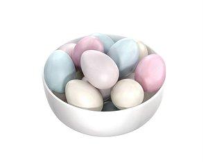 white bowl easter eggs 3D model