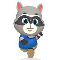 Raccoon Dog Animated Rigged