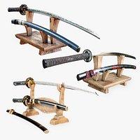 Katana Collection - Set of 3 Samurai Swords and a Dagger Wakizashi