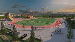 Football training ground football field football players stadium exercise ground track and field gra 3D model