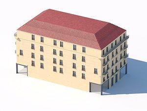 3D residential five-storey city building 3d model