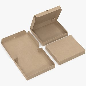 pizza boxes kraft paper 3D model