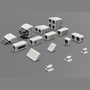 set 15 spaceship modules 3D