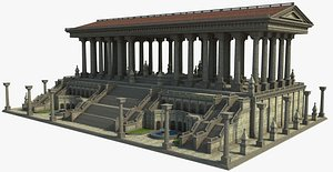 3D model temple architecture building
