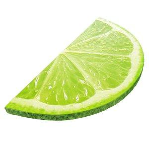 Lime round slice half 2 3D model