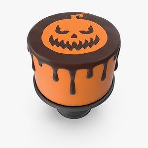 Halloween Cake with Pumpkin Face Topper 3D