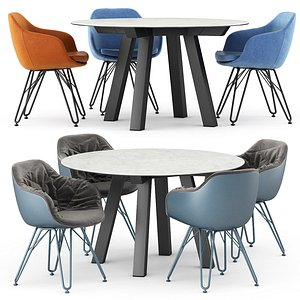 3D Duero fija table and Lap 4051 and Lap 4052 chairs model