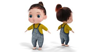 3D Cartoon Fur Baby Girl Cute Character NO RIG model