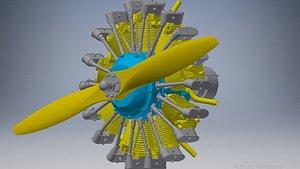 radial engine cylinder 3D model