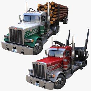 Peterbilt 379 log truck PBR 3D model