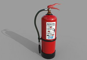 3D Fire Extinguisher with warnings