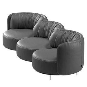 Natuzzi Wave 3 seater sofa by Nika Zupanc 3D model