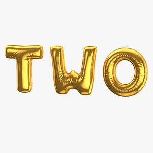 Foil Baloon Words Two Gold 3D model