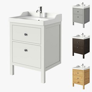 3D IKEA HEMNES RATTVIKEN Sink cabinet with 2 drawers model