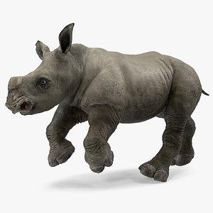 baby rhino running pose model