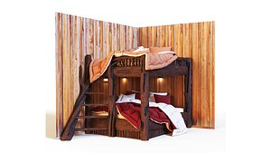 3D Bunk bed in rustic style model