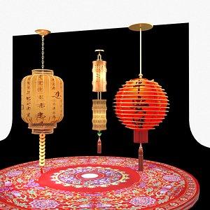 3D red lantern model