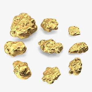 Metallic Minerals Gold Set 3D model