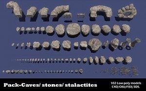 3D low-poly stones model