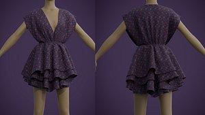 Floral Print Layered Ruffle Summer Dress 3D model