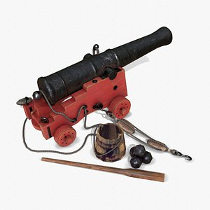 3D cannon old naval