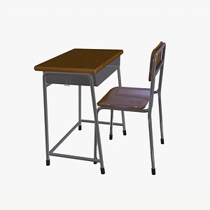 3D Japanese School Class Desk and Chair Lowpoly model