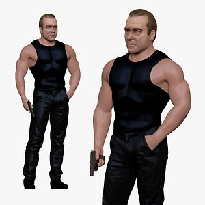 001196 tough guy with the gun model