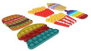 3D Fast Food Pop It Fidget Toys Set model