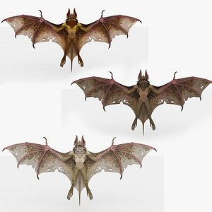 3 in 1 Bat Rigged and Animated 3D