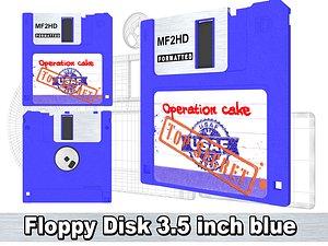 3D Floppy Disk 3 5 inch blue