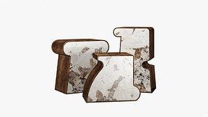 3D Kelly Wearstler ternion traid tercet side table model