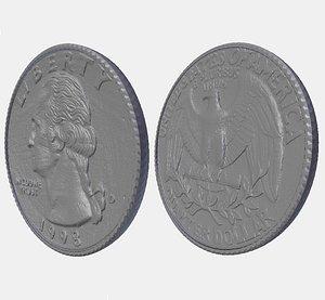 quarter coin 3D model