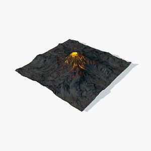 3D model winter summer volcano